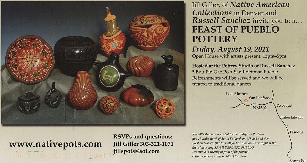 Jill Giller's Pueblo Pottery Show in Santa Fe Aug 19 at Russell Sanchez's Studio